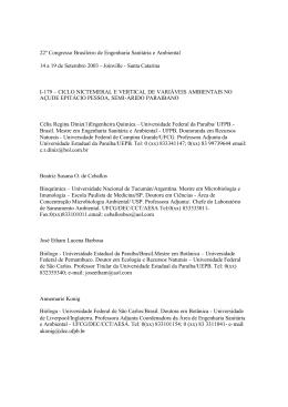 Ciclo nictemeral e vertical de variáveis ambientais no açude