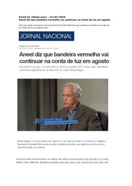 Portal G1 (Globo.com) – 31/07/2015 Aneel diz que bandeira