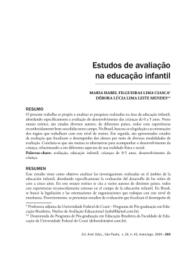 Estudos de avaliação na educação infantil