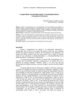 Complexidade, Interdisciplinaridade, Transdisciplinaridade e