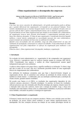 Clima organizacional e o desempenho das empresas