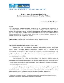 Terceiro Setor: Responsabilidade Social das Empresas e a