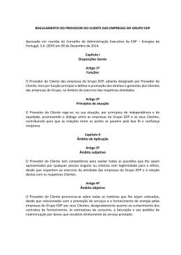 REGULAMENTO DO PROVEDOR DO CLIENTE DAS EMPRESAS