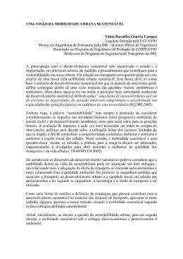 UMA VISÃO DA MOBILIDADE URBANA SUSTENTÁVEL