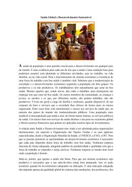 A ligação entre o Desenvolvimento Sustentável e Saúde Global