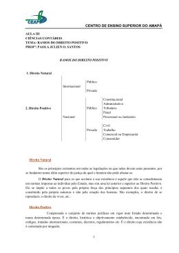 AULA III - RAMOS DO DIREITO