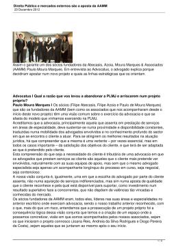 Direito Público e mercados externos são a aposta da AAMM