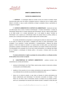 contratos administrativos - Estudo de Administrativo