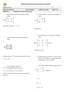 1. (Unirio) Dada a matriz representada na figura adiante Determine