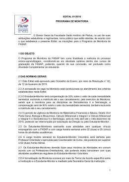 1 EDITAL 01/2015 PROGRAMA DE MONITORIA O Diretor Geral da