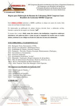 Regras para Elaboração do Resumo do Cobramseg 2014
