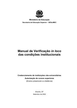 Manual de Verificação in loco das condições institucionais