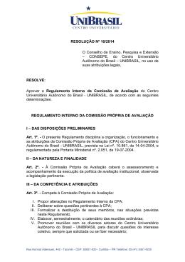 Regulamento interno da Comissão Própria de Avaliação
