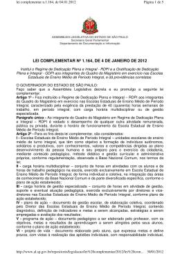 LEI COMPLEMENTAR Nº 1.164, DE 4 DE JANEIRO DE 2012