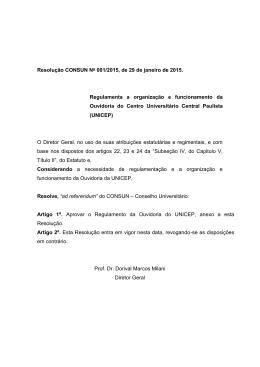 Resolução CONSUN No 001/2015, de 29 de janeiro de