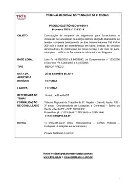 Edital - Tribunal Regional do Trabalho da 6ª Região