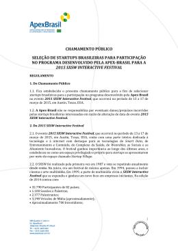 chamamento público seleção de startups brasileiras - Apex
