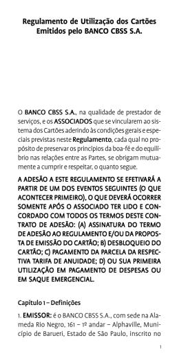 Regulamento de Utilização dos Cartões Emitidos pelo BANCO