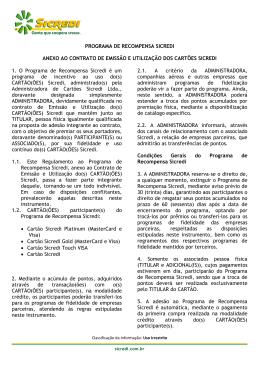 PROGRAMA DE RECOMPENSA SICREDI ANEXO AO CONTRATO