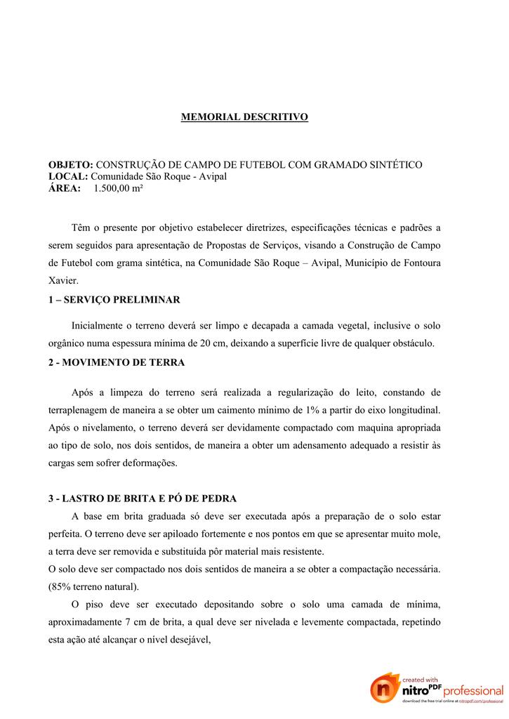 Memorial Descritivo Objeto Construção De Campo De