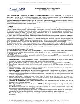 REGRAS E PARÂMETROS DE ATUAÇÃO DA H.H.