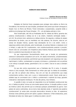 EXÉRCITO NOS MORROS Antônio Álvares da Silva Soldados do