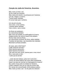 Canção da Judia de Varsóvia, Anonimo.