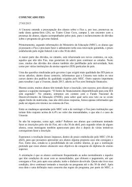 COMUNICADO FIES 27/03/2015 A Unoeste entende a preocupação