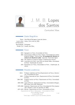 J. M. B. Lopes dos Santos – Curriculum Vitae