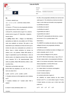 Lista de PA/PG - Matemática para Todos