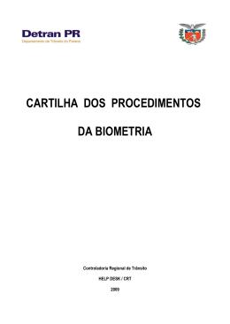 CARTILHA DOS PROCEDIMENTOS DA BIOMETRIA
