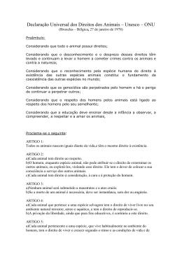 Declaração Universal dos Direitos dos Animais – Unesco