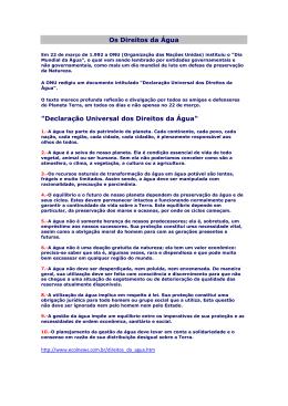 """Os Direitos da Água """"Declaração Universal dos Direitos - PUC-SP"""