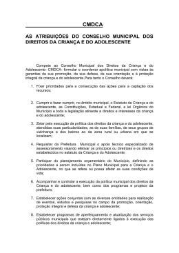 cmdca as atribuições do conselho municipal dos direitos da criança