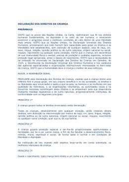 Declaração Universal dos Direitos das Crianças