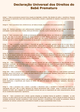 Declaração Universal dos Direitos do Bebé Prematuro