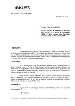 Nota Técnica nº 23/2013-SGE/ANEEL Em 24 de maio de 2013