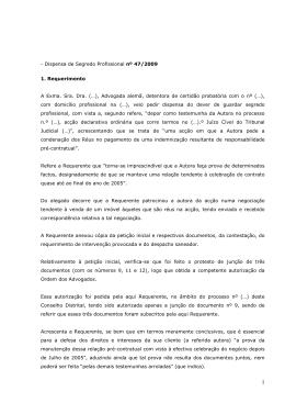 Sigilo Profissional n.º 47/SP/2009-P
