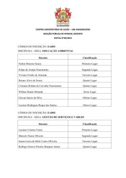 Seleção Docentes – 04/2015 – Resultados Finais