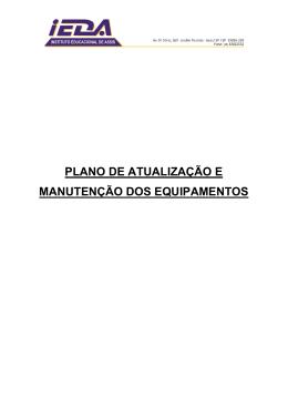 PLANO DE ATUALIZAÇÃO E MANUTENÇÃO DOS EQUIPAMENTOS