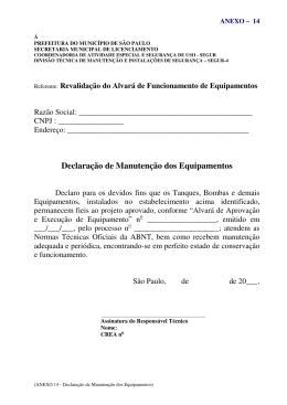 Declaração de Manutenção dos Equipamentos