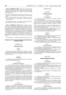 Regulamento de Funcionamento e Utilização dos Equipamentos