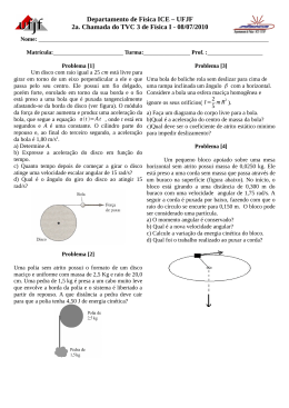 UFJF 2a. Chamada do TVC 3 de Física I