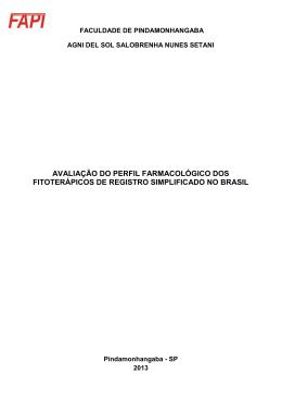 avaliação do perfil farmacológico dos fitoterápicos de registro