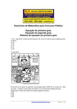 Equação do Primeiro e Segundo Grau – Sistema de equação