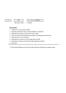 01) [2,0 pontos] Mostre que a soma de dois números consecutivos é