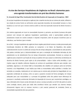 A crise dos Serviços Hospitalares de Urgências no Brasil