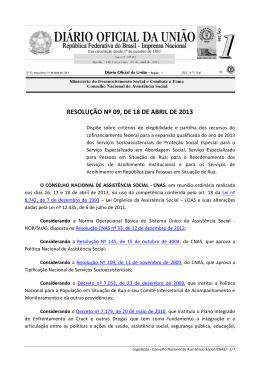 RESOLUÇÃO Nº 09, DE 18 DE ABRIL DE 2013