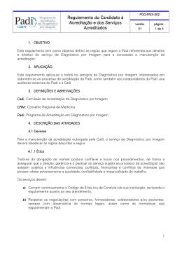 Regulamento do Candidato à Acreditação e dos Serviços Acreditados