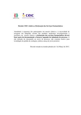 Decisão CEIC relativa a Declaração dos Serviços Farmacêuticos